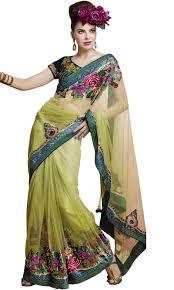 pista colour pista green colour net with satin designer party wear saree on