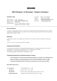 Sql Server Developer Resume Sample Resume Sample For Freshers Web Designer Templates