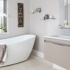 Bathroom Standing Shelves by Bathroom Ideas Gray Bathroom With White Freestanding Tub Also