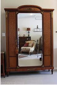 Mirror Armoire Wardrobe Classic Armoire Antique French Triple Door Mirrored For Sale