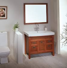 Mirror Frames Villa Bathroom Cabinets Acrylic Rectangular Sink Gray Stained