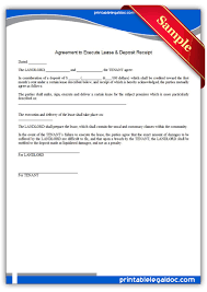 Free Printable Rent Receipt Template Free Printable Agreement To Execute Lease And Deposit Receipt