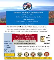 foothills veterans stand down on april 21 9 am to 2 pm catawba