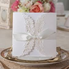 Wedding Invitations With Ribbon Aliexpress Com Buy 50 Luxury Sets Laser Cut Gatefold Engagement