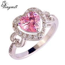 nice engagement rings images Lingmei love wedding engagement pink white cz silver color ring jpg