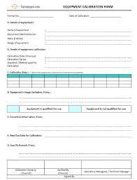 calibration report template equipment calibration form