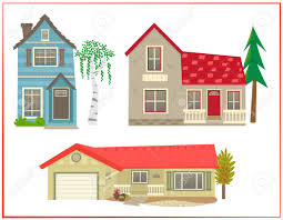 three homes houses set of three different types of homes royalty