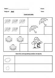english worksheets count and write 1
