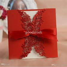 Printing Invitation Cards 2017 Wholesale Free Print Laser Cut Lace Red Wedding Invitation