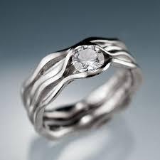 wedding ring bridal set white sapphire bridal rings wave wedding ring bridal set