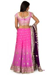 purple shade silk lehenga in pink u0026 purple shade