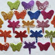 2017 1bag butterfly and dragonfly glitter foam stickers