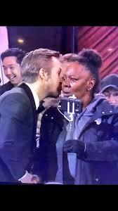 Oscar Meme - ryan gosling whispering to woman from tour bus at oscars
