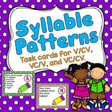 cv v vc syllable patterns task cards for v cv vc v and vc cv tpt
