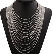 multi layered black necklace images Fashion cool silver multi layer chain necklace wholesale yiwuproducts jpg