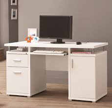 furniture sleek furnishing white computer desk with stand