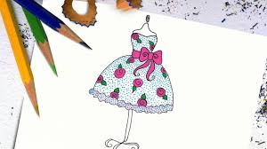 how to draw a beautiful dress for kids easy step by step youtube