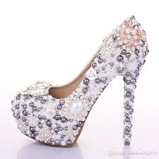 wedding shoes queensland customized luxury grey wedding shoes pearls high heel