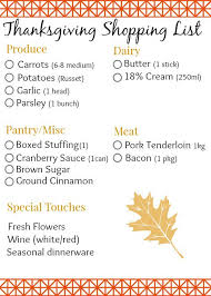 the thanksgiving menu with free shopping list the