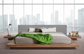 opal modern low profile walnut and grey leatherette platform bed