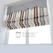 Printed Fabric Roman Shades - striped pattern flat shaped custom fabric roman shades