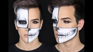 half halloween makeup half skull halloween makeup halloween tutorial andthatsjacob