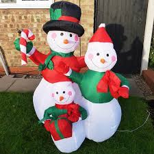 Outdoor Christmas Yard Decorations by Large Outdoor Christmas Inflatable Snowman Decorations Family Led