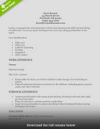 Sample Resume Of Caregiver by 82 Nanny Skills Resume Educational Qualification In Resume