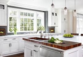 butcher block kitchen island in kitchen traditional with island