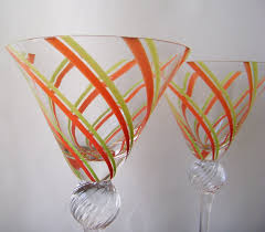 james bond martini glass vintage martini glasses venezia art glass signed stripes orange