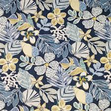 Robert Allen Drapery Fabric Mixed Motifs Indigo Blue Floral Cotton Drapery Fabric By Robert