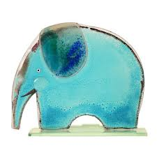 large blue elephant fused glass table