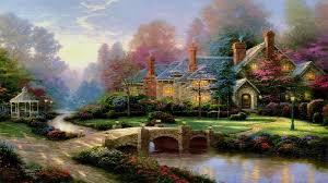 Thomas Kinkade Clocktower Cottage by Thomas Kinkade Summer Paintings Thomas Kinkade Wallpaper