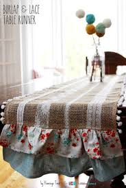 Burlap Lace Table Runner Easy Burlap And Lace Table Runner The Ribbon Retreat Blog