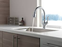 stainless steel wide spread delta leland kitchen faucet single