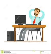 Stretching Table by Man Resting And Stretching At His Desk Part Of Office Workers