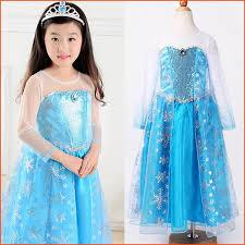 Elsa Costume 100cm 140cm Cosplay Children Elsa Costume Frozen Elsa Dress Spring