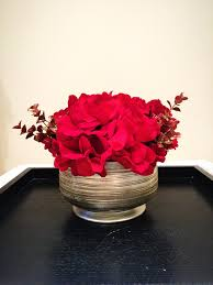 christmas floral arrangement silk red hydrangea with gold and red