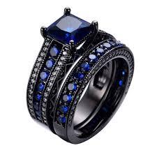 black crystal rings images Blue ring sets black gold filled crystal rings for women eshaal jpg
