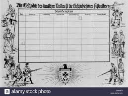 a timetable for students the caption reads the history of stock