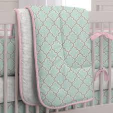 Pink And Aqua Crib Bedding Mint And Pink Quatrefoil 3 Piece Crib Bedding Set Carousel Designs