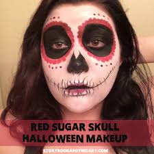 Halloween Makeup Application by Dia De Los Muertos Red Sugar Skull Makeup Storybook Apothecary