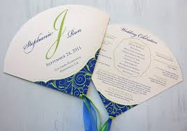 Fan Wedding Program Kits Royal Blue And Apple Green Vine Swirls With Dots Round Wedding