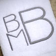 stacked monogram custom modern stacked monogram bath towels stitched on the avenue