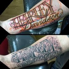 harley davidson mens inner forearm lettering tattoos harley