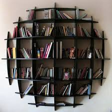 Timber Bookshelf Furniture Stylish Wall Display Bookcase For Interior Wall