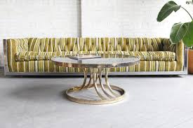 sold mid century modern hollywood regency round brass u0026 glass
