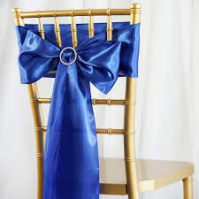 chair sashes 5pcs royal blue satin chair sashes tie bows catering wedding party