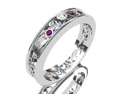 Amethyst Wedding Rings by Amethyst Ring White Gold Diamond Filigree Wedding Band Purple