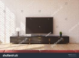 minimalistic living room interior wooden closet stock illustration